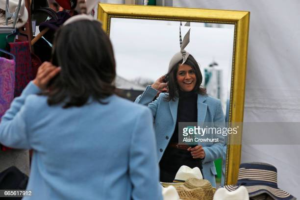 Racing's Lucy Verasamy is seen on Ladies Day at Aintree Racecourse on April 7 2017 in Liverpool England