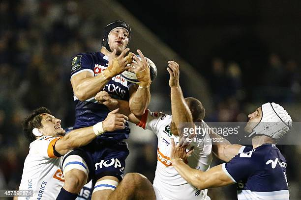 Racing's Wenceslas Lauret vies for the ball during the European Champions cup rugby union match between Treviso and Racing Metro 92 at Monigo stadium...