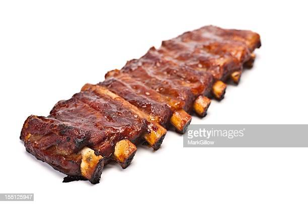 Rack of barbecue pork ribs on a white background