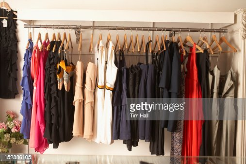 Rack of dresses for sale in store