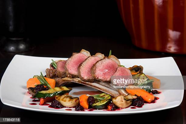 Rack of Irish spring lamb cooked pink