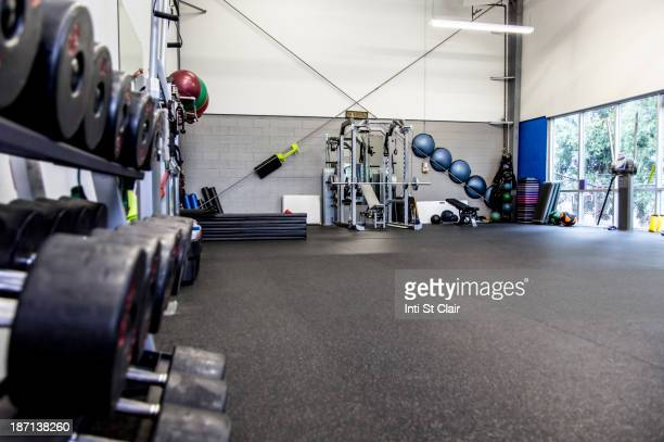 Rack of weights in gym