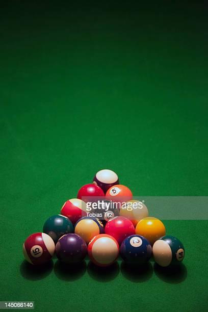Racked pool balls on a green felt pool table