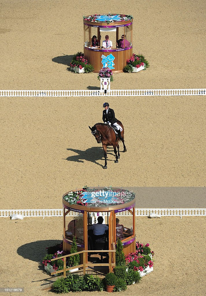 Rackel Stock of New Zealand rides Rimini Park Emmerich during the Equestrian Dressage Individual Freestyle Test - Grade III on day 6 of the London 2012 Paralympic Games at Greenwich Park on September 4, 2012 in London, England.