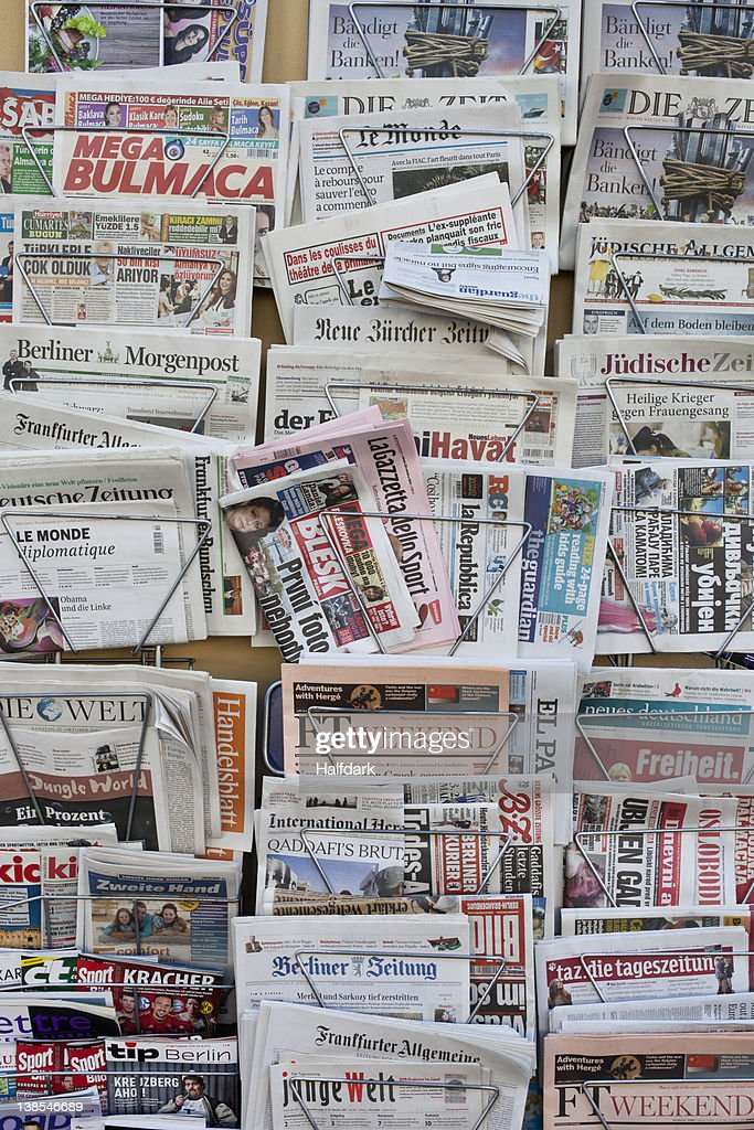 Racks of German and international newspapers
