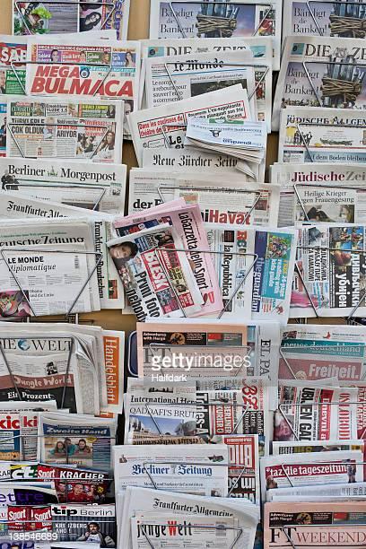 Racks of German and international newspapers