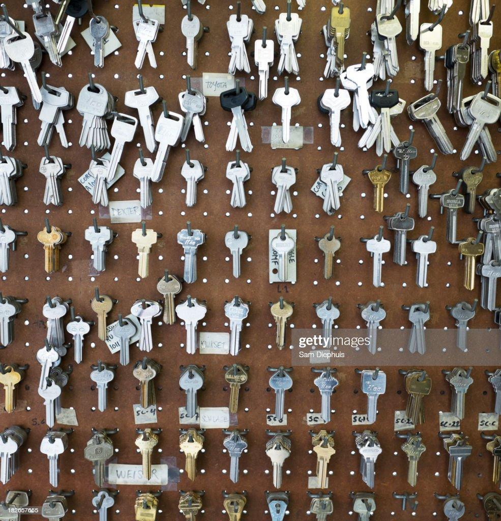 Racks of keys on wall