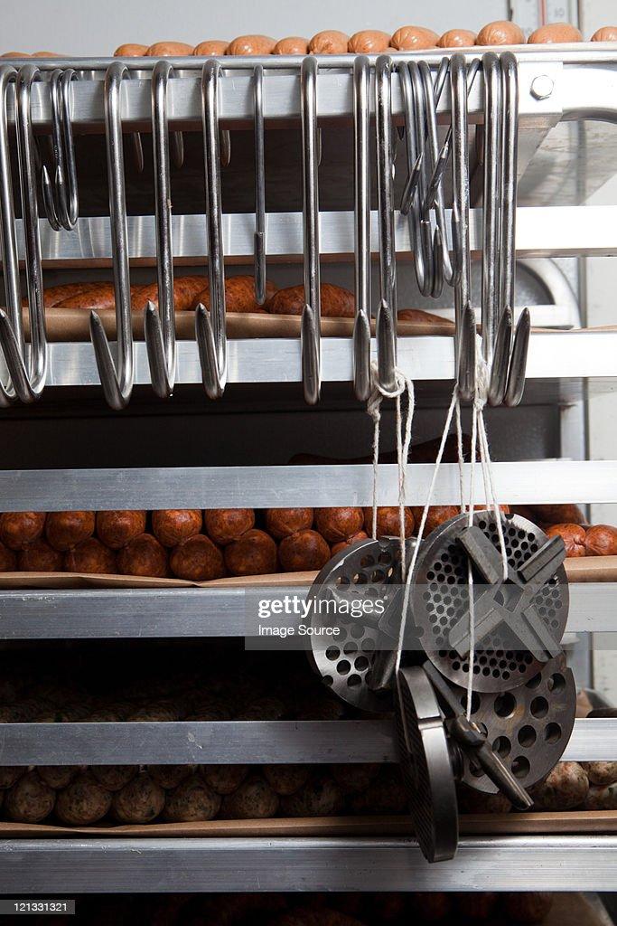 Racks of sausages : Stock Photo