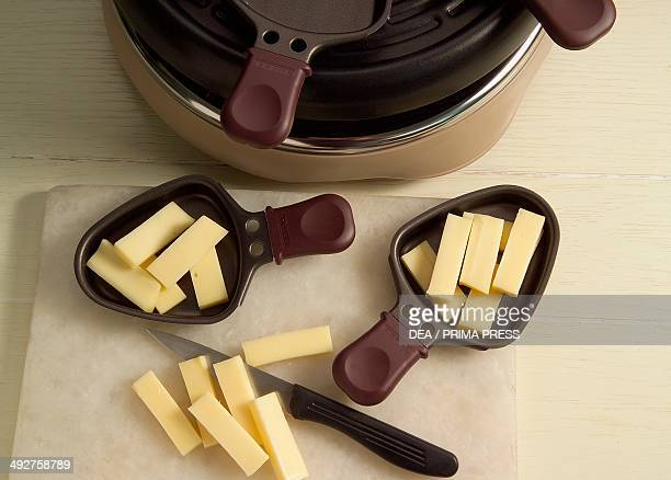 Raclette cheese in a small nonstick pan before cooking Raclette step 1