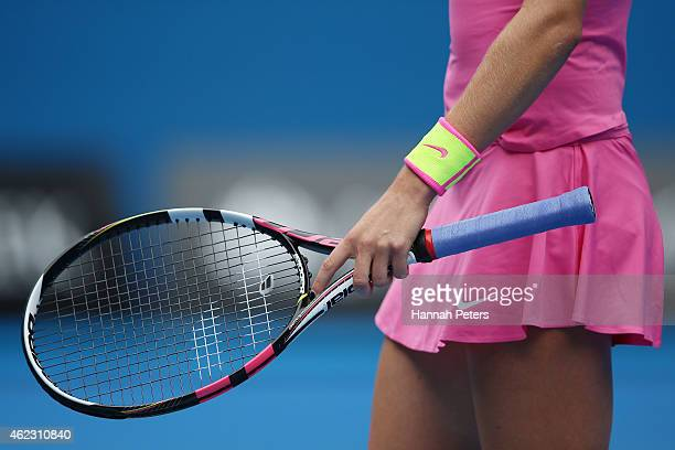 Racquet detail of Eugenie Bouchard of Canada in her quarterfinal match against Maria Sharapova of Russia during day nine of the 2015 Australian Open...