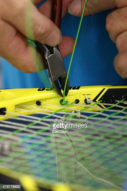 A racquet is restrung on day 8 of the Wimbledon Lawn Tennis Championships at the All England Lawn Tennis and Croquet Club on July 7 2015 in London...