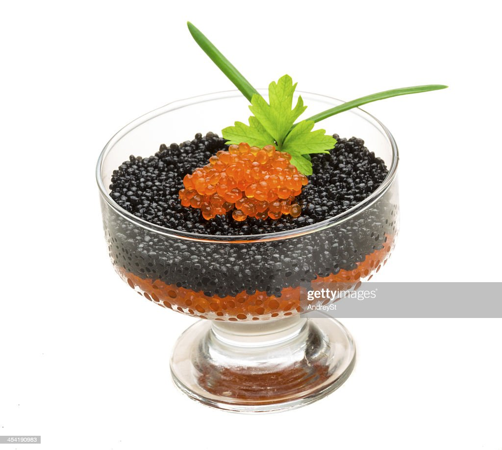 Rad and Black caviar : Stock Photo