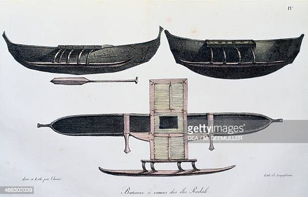 Radak islands rowing boats drawing by Ludwig Choris from the Picturesque Voyage around the World 1822 19th century
