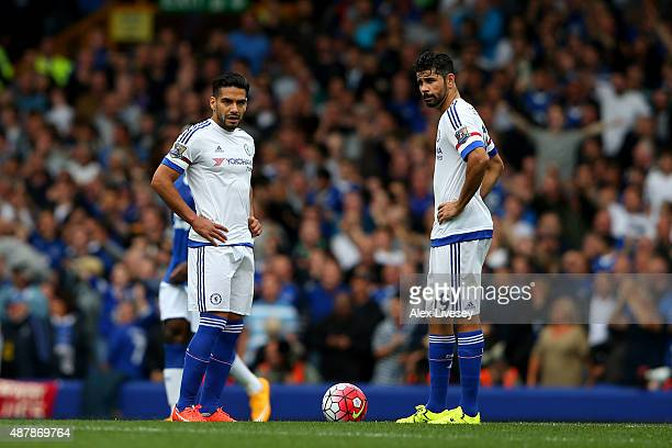 Radamel Falcao and Diego Costa of Chelsea look dejected after the third Everton goal during the Barclays Premier League match between Everton and...