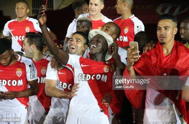 Radamel Falcao Benjamin Mendy Nabil Dirar of Monaco during the French League 1 Championship title celebration following the French Ligue 1 match...