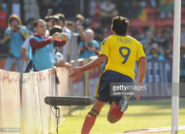 Radamel Falcao from Colombia celebrates a scored goal during a match between Colombia and Bolivia for the third round of Group A of Copa America 2011...