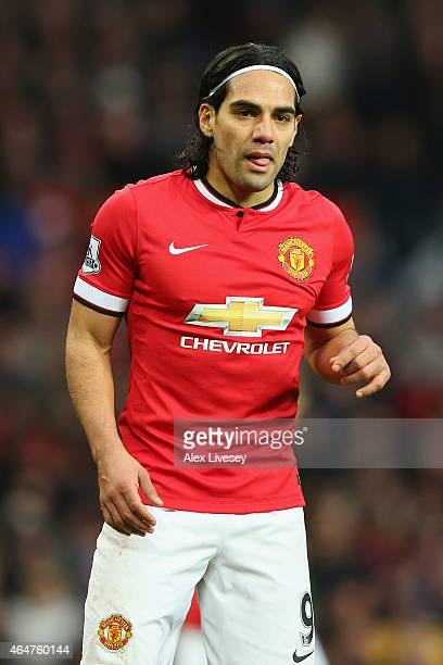 Radamel Falcao García of Manchester United looks on during the Barclays Premier League match between Manchester United and Sunderland at Old Trafford...