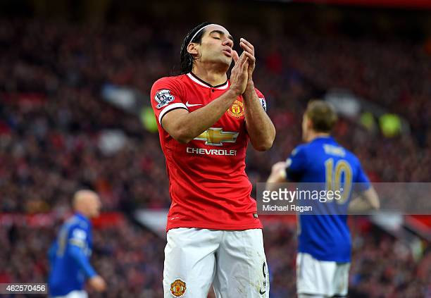 Radamel Falcao García of Manchester United reacts after a missed chance during the Barclays Premier League match between Manchester United and...