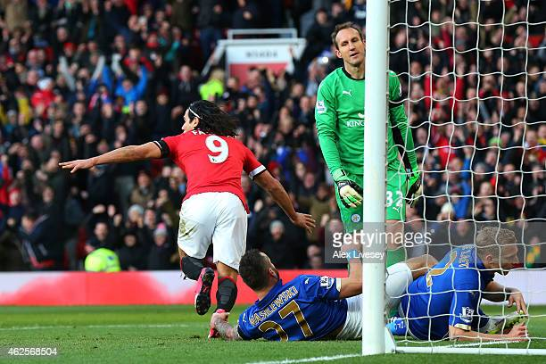 Radamel Falcao García of Manchester United turns away to celebrate after scoring his team's second goal during the Barclays Premier League match...
