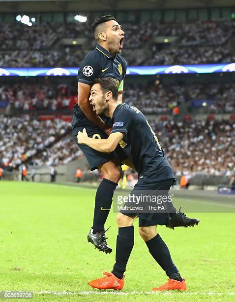 Radamel Falcao Garcia and Bernardo Silva of AS Monaco celebrate during the UEFA Champions League match between Tottenham Hotspur FC and AS Monaco FC...