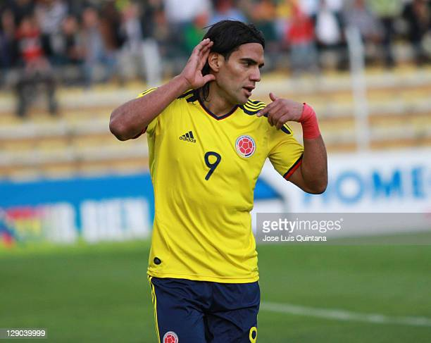 Radamel Falcao Garcia from Colombia celebrates a goal during a match between Bolivia and Colombia as part of the second round of the South American...