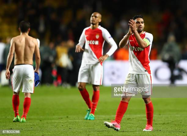 Radamel Falcao Garcia of AS Monaco applauds supporters during the UEFA Champions League Semi Final first leg match between AS Monaco v Juventus at...