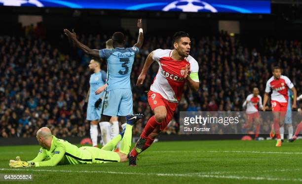 Radamel Falcao Garcia of AS Monaco celebrates as he scores their first and equalising goal during the UEFA Champions League Round of 16 first leg...