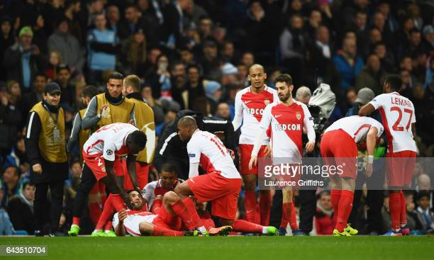 Radamel Falcao Garcia of AS Monaco celebrates as he with team mates as scores their third goal during the UEFA Champions League Round of 16 first leg...