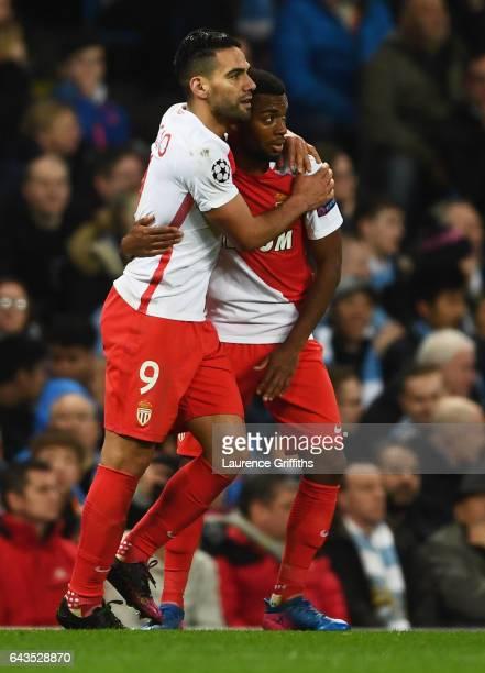 Radamel Falcao Garcia of AS Monaco celebrates with Thomas Lemar as he scores their third goal during the UEFA Champions League Round of 16 first leg...