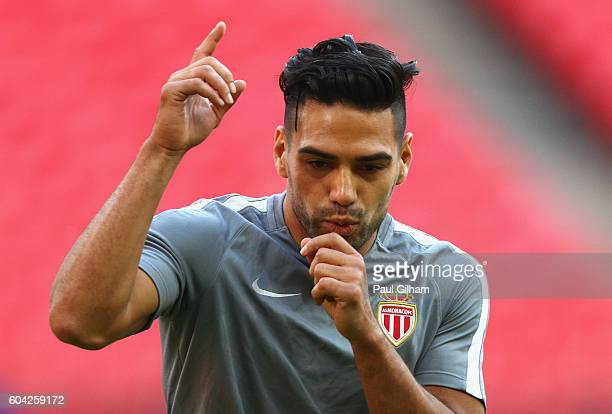 Radamel Falcao Garcia of AS Monaco reacts during the AS Monaco training session ahead of their UEFA Champions League Group E match against Tottenham...