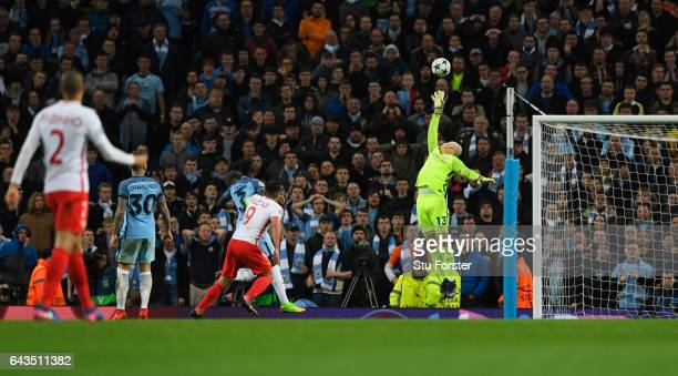 Radamel Falcao Garcia of AS Monaco scores their third goal over goalkeeper Willy Cabellero of Manchester City during the UEFA Champions League Round...