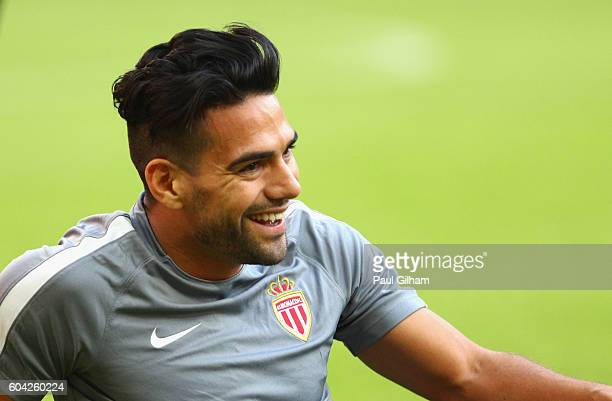 Radamel Falcao Garcia of AS Monaco smiles during the AS Monaco training session ahead of their UEFA Champions League Group E match against Tottenham...