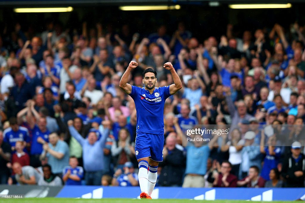<a gi-track='captionPersonalityLinkClicked' href=/galleries/search?phrase=Radamel+Falcao&family=editorial&specificpeople=3022104 ng-click='$event.stopPropagation()'>Radamel Falcao</a> Garcia of Chelsea celebrates scoring his team's first goal during the Barclays Premier League match between Chelsea and Crystal Palace at Stamford Bridge on August 29, 2015 in London, England.