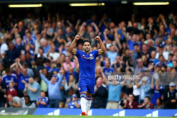 Radamel Falcao Garcia of Chelsea celebrates scoring his team's first goal during the Barclays Premier League match between Chelsea and Crystal Palace...