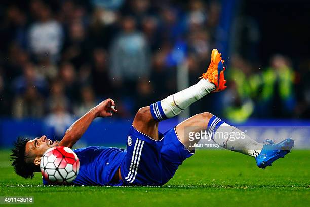 Radamel Falcao Garcia of Chelsea falls during the Barclays Premier League match between Chelsea and Southampton at Stamford Bridge on October 3 2015...