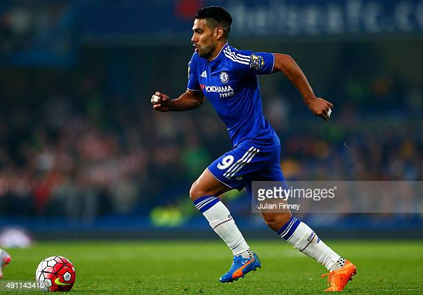 Radamel Falcao Garcia of Chelsea in action during the Barclays Premier League match between Chelsea and Southampton at Stamford Bridge on October 3...