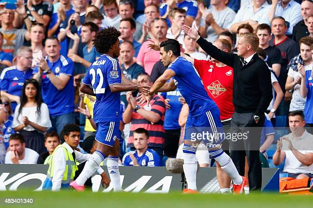 Radamel Falcao Garcia of Chelsea is brought in for Willian during the Barclays Premier League match between Chelsea and Swansea City at Stamford...