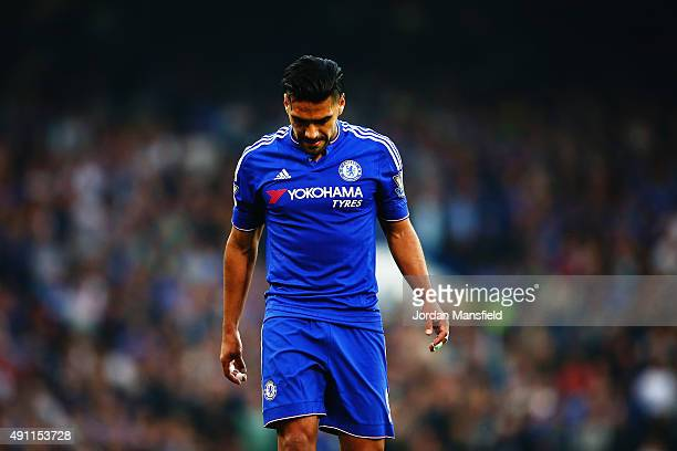 Radamel Falcao Garcia of Chelsea reacts during the Barclays Premier League match between Chelsea and Southampton at Stamford Bridge on October 3 2015...