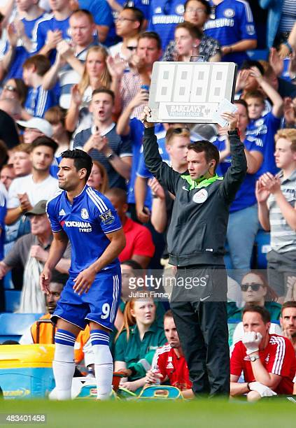 Radamel Falcao Garcia of Chelsea stands on the sideline during the Barclays Premier League match between Chelsea and Swansea City at Stamford Bridge...