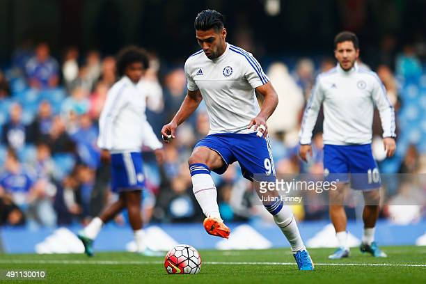 Radamel Falcao Garcia of Chelsea warms up prior to the Barclays Premier League match between Chelsea and Southampton at Stamford Bridge on October 3...