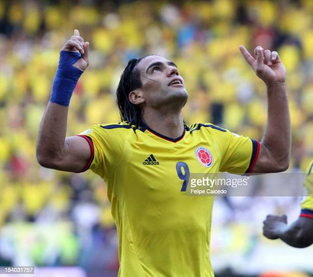 Radamel Falcao Garcia of Colombia celebrates a goal during a match between Colombia and Paraguay as part of the South American Qualifiers for the...