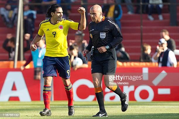 Radamel Falcao Garcia of Colombia celebrates a scored goal against Bolivia as part a match of Group A of Copa America 2011 at Brigadier Estanislao...