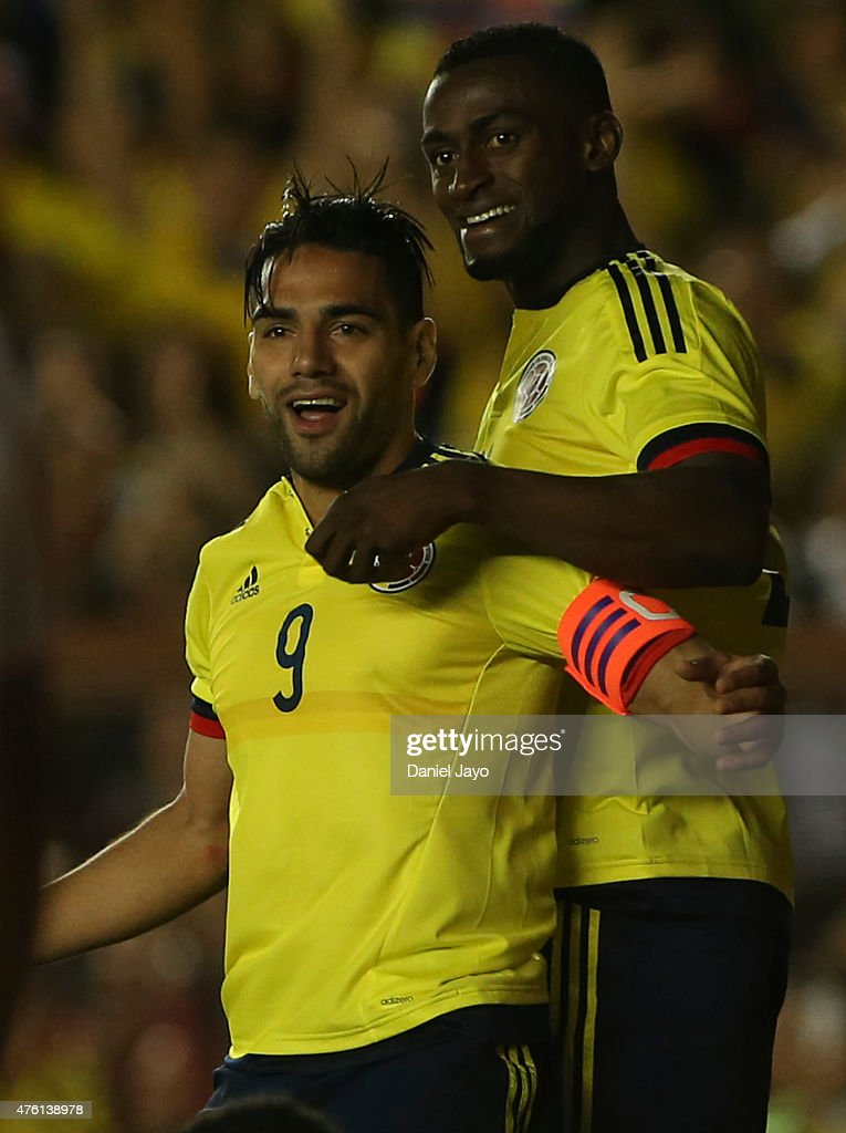 <a gi-track='captionPersonalityLinkClicked' href=/galleries/search?phrase=Radamel+Falcao&family=editorial&specificpeople=3022104 ng-click='$event.stopPropagation()'>Radamel Falcao</a> Garcia, of Colombia, (L) celebrates with teammate Jackson Martinez after scoring during a friendly match between Colombia and Costa Rica at Diego Armando Maradona Stadium on June 06, 2015 in Buenos Aires, Argentina.