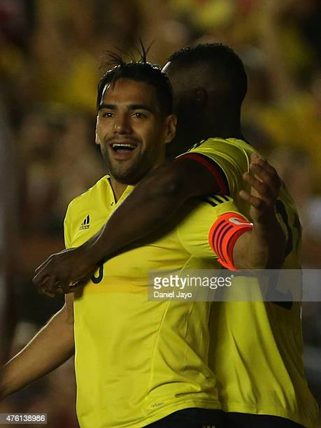 Radamel Falcao Garcia of Colombia celebrates with teammate Jackson Martinez after scoring during a friendly match between Colombia and Costa Rica at...