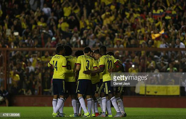 Radamel Falcao Garcia of Colombia celebrates with teammates after scoring during a friendly match between Colombia and Costa Rica at Diego Armando...