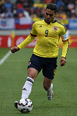 Radamel Falcao Garcia of Colombia drives the ball during the 2015 Copa America Chile Group C match between Colombia and Peru at Municipal...