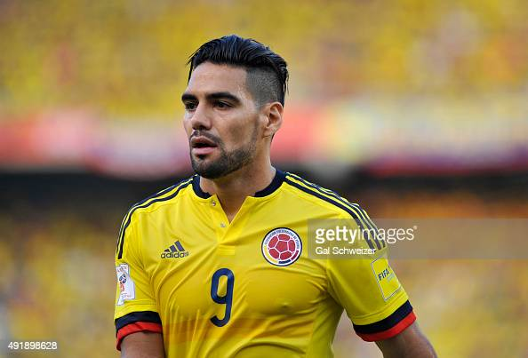 Radamel Falcao Garcia of Colombia looks on during a match between Colombia and Peru as part of FIFA 2018 World Cup Qualifier at Metropolitano Roberto...