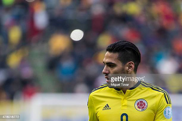 Radamel Falcao Garcia of Colombia looks on during the 2015 Copa America Chile Group C match between Colombia and Peru at Municipal Bicentenario...
