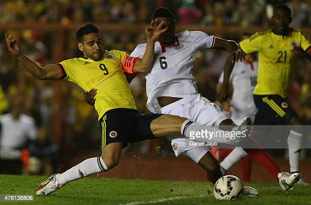 Radamel Falcao Garcia of Colombia scores during a friendly match between Colombia and Costa Rica at Diego Armando Maradona Stadium on June 06 2015 in...