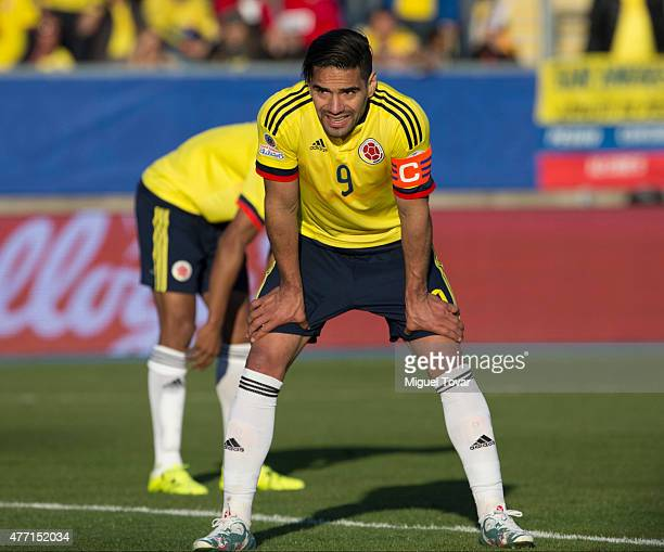 Radamel Falcao Garcia of Colombia takes a breather during the 2015 Copa America Chile Group C match between Colombia and Venezuela at El Teniente...